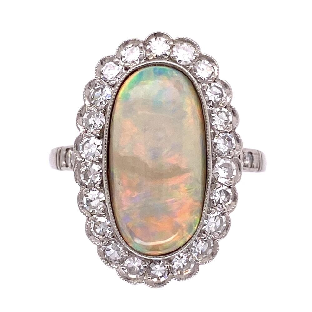 Image 2 for Platinum Art Deco 3.24ct Long White Opal & .69tcw Diamond Ring 6.1g, s6.75