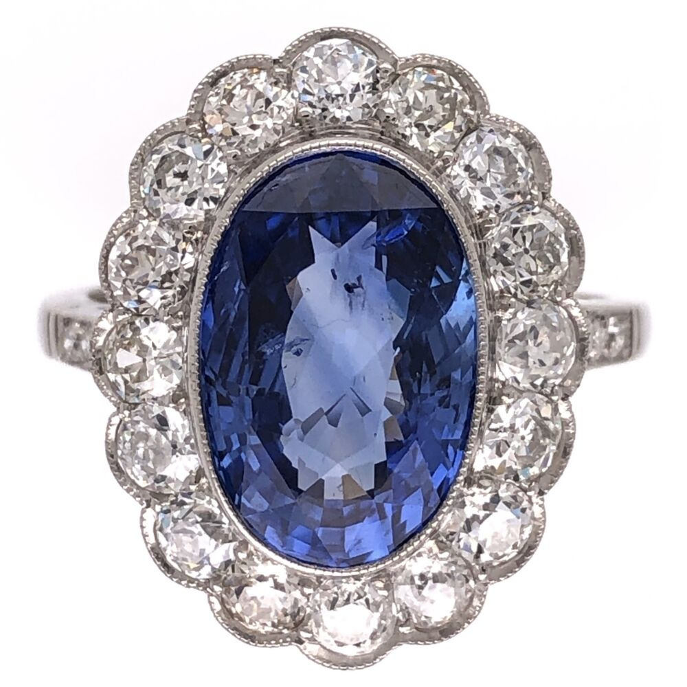 Platinum Art Deco 4.07ct NO HEAT Oval Sapphire GIA & 1.30tcw Diamond Halo Ring 6.6g, s6.5