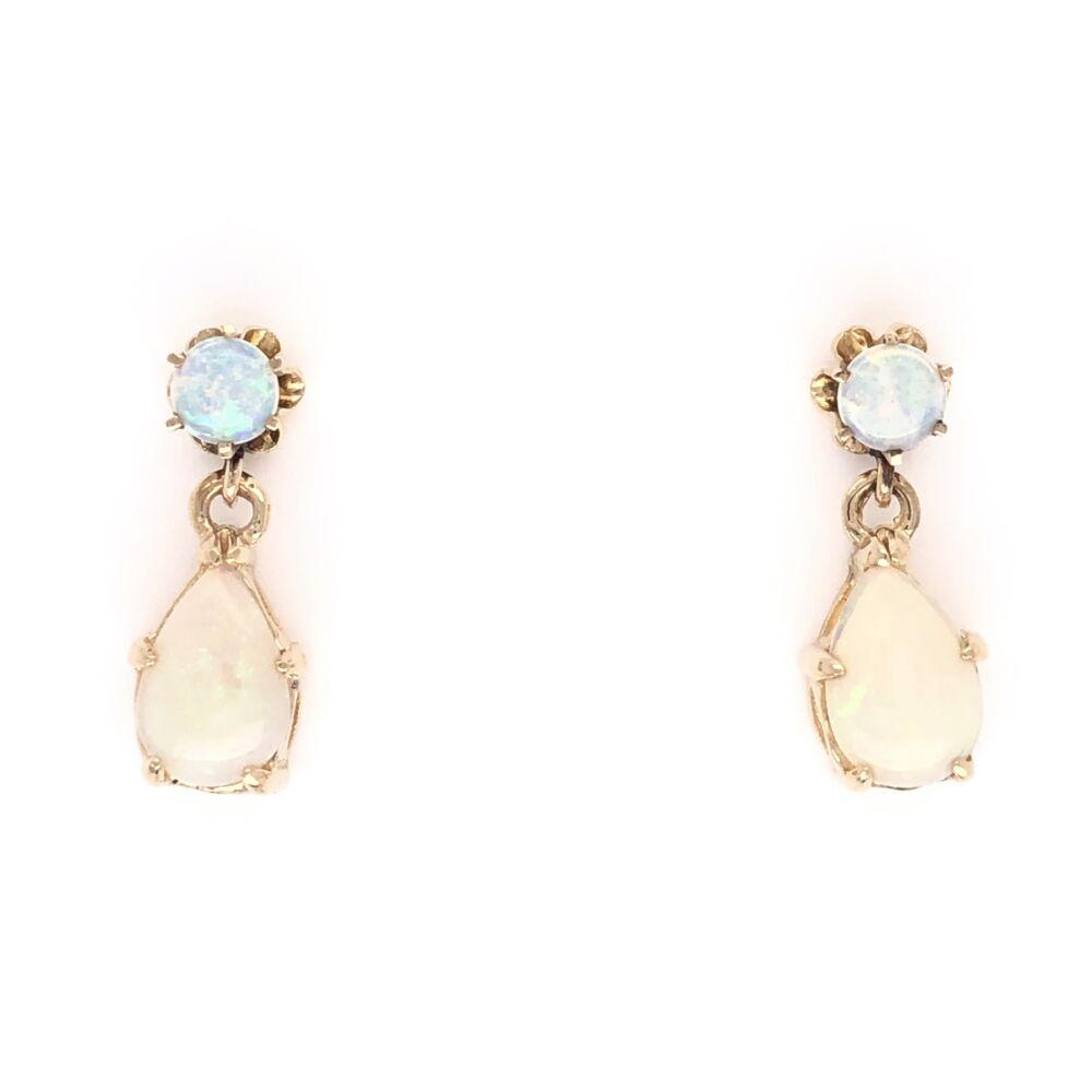 14K Yellow Gold White Opal Dangle Earrings Rounds & Pears 2.5g