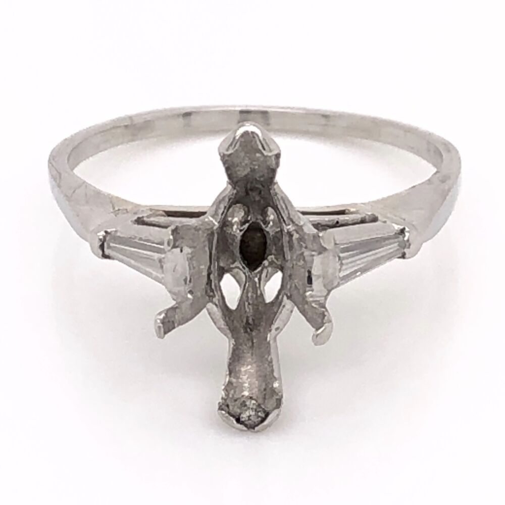 Platinum Semimount Ring with 2 Tapered Baguette Diamonds .20tcw 4.2g, s7