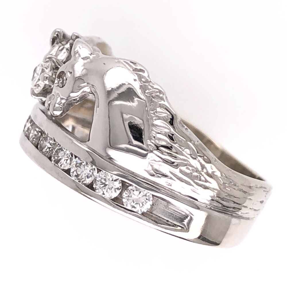 Image 2 for 14K White Gold Double Horse Diamond Band Ring, .62tcw, 6.8g, s6.5