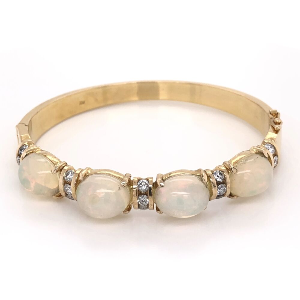 18K Yellow Gold 4 Opal Bangle Bracelet with 1.00tcw Diamonds 34.6g
