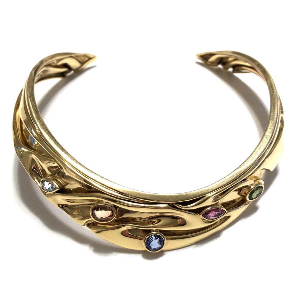 18K Yellow Gold MONIQUE T Multi-gemstone Collar Necklace 63.8g