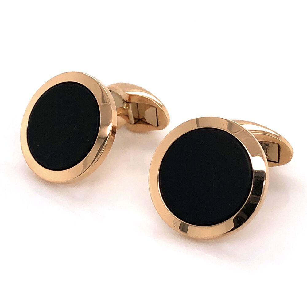 Image 2 for 18K Yellow Gold WEMPE Round Black Niello Tablet Cufflinks 13.5g