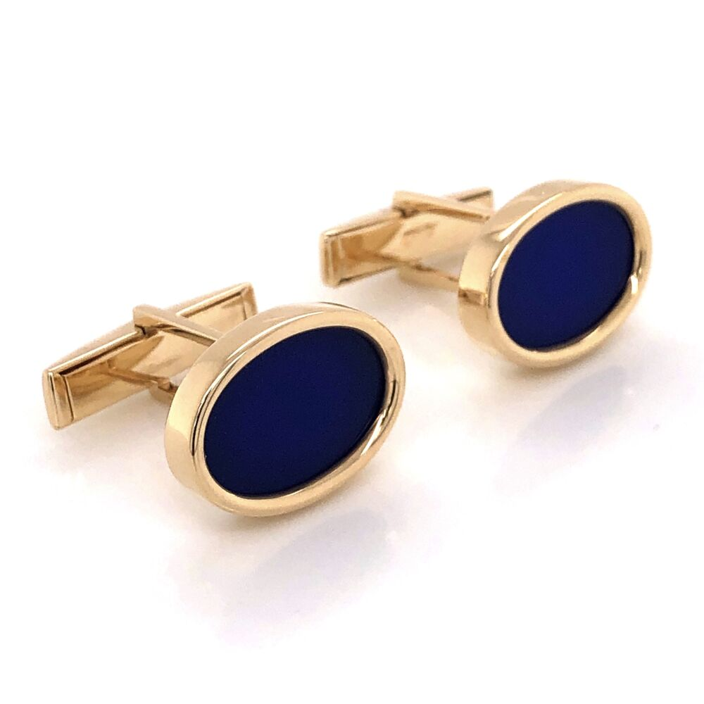 Image 2 for 14K Yellow Gold LARTER Lapis Lazuli Oval Cufflinks 11.8g