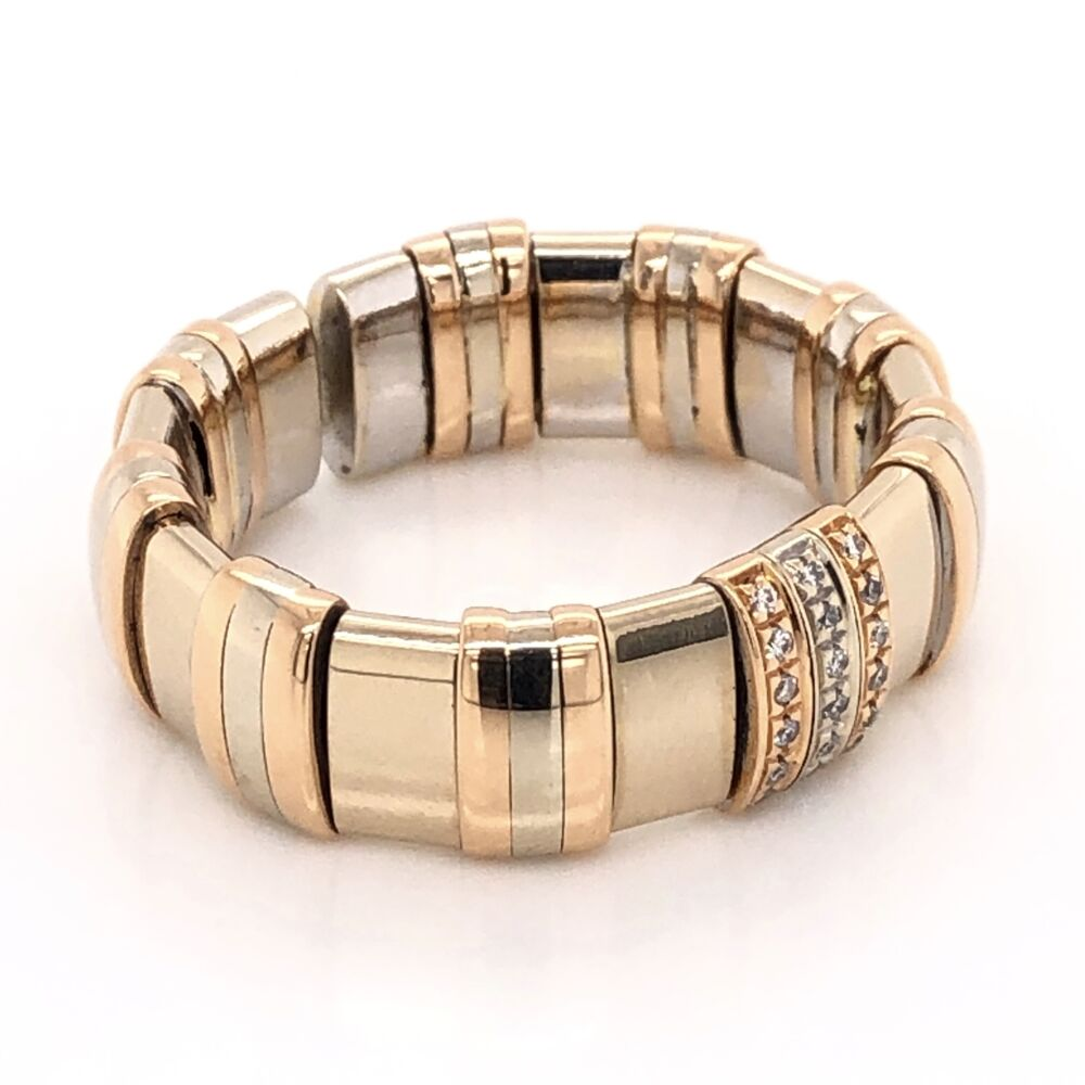 Image 2 for 18K Tri Color Gold Mens WLH Flexible Diamond Band Ring 16.8g, s11.5+