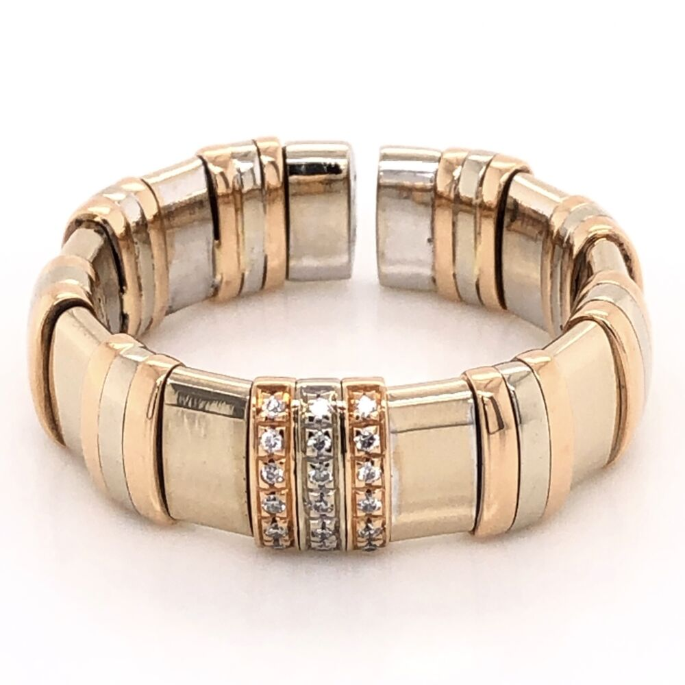 18K Tri Color Gold Mens WLH Flexible Diamond Band Ring 16.8g, s11.5+
