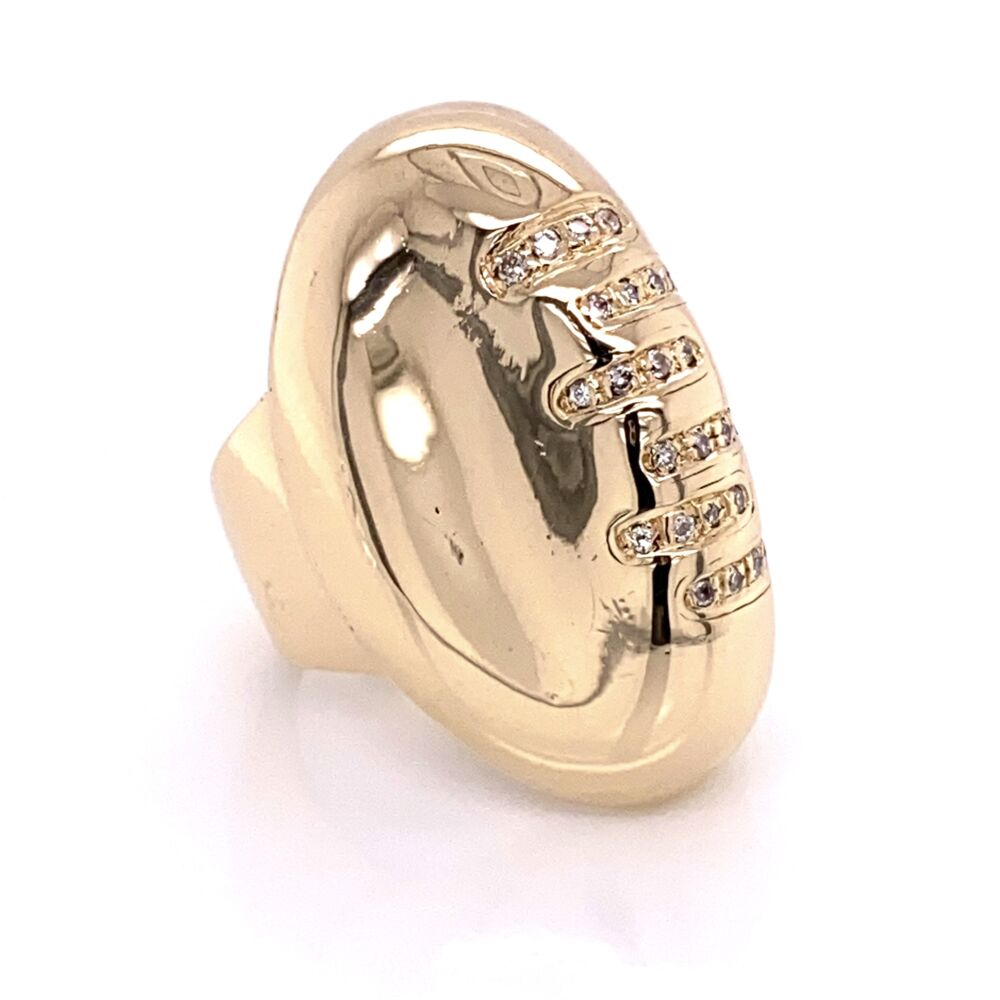 14K Yellow Gold FOOTBALL Ring with Diamond Laces .33tcw 19.7g, s6.5