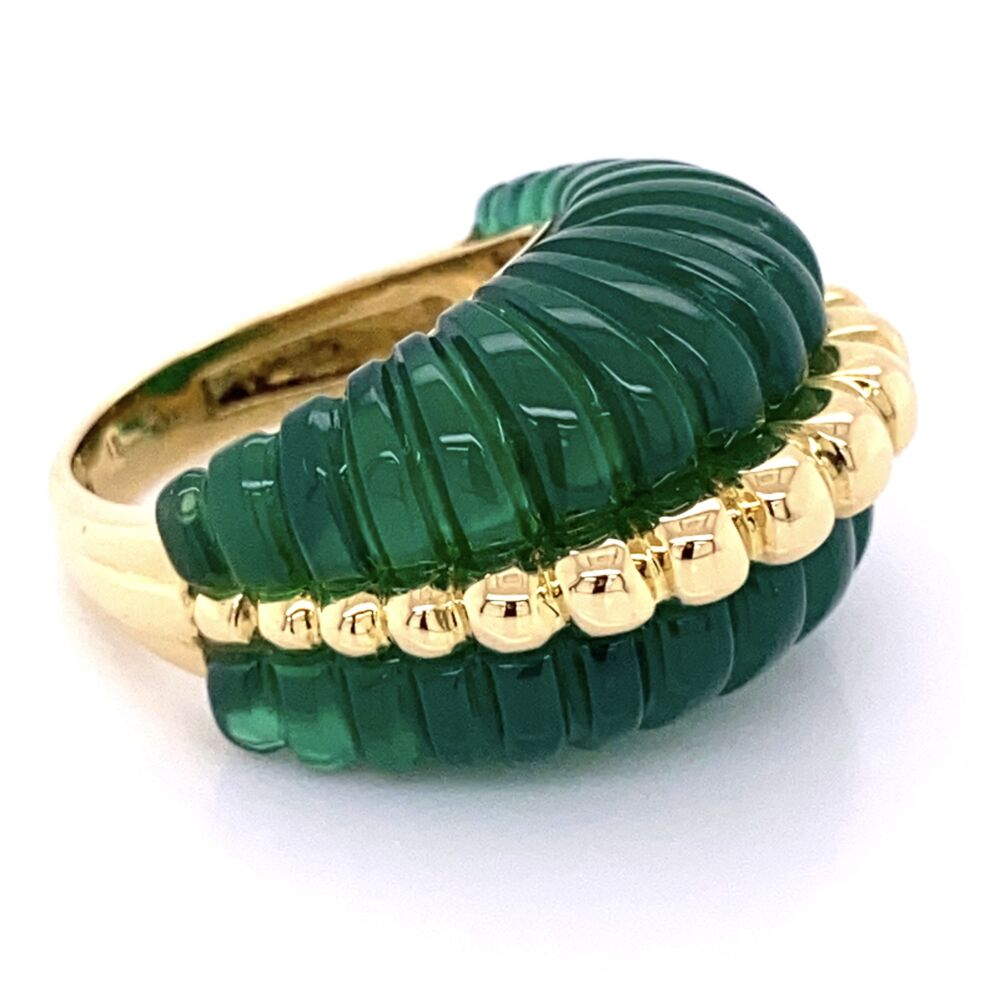 18K Yellow Gold Dome Ring with Carved & Fluted Green Quartz 14.1g, s6.75