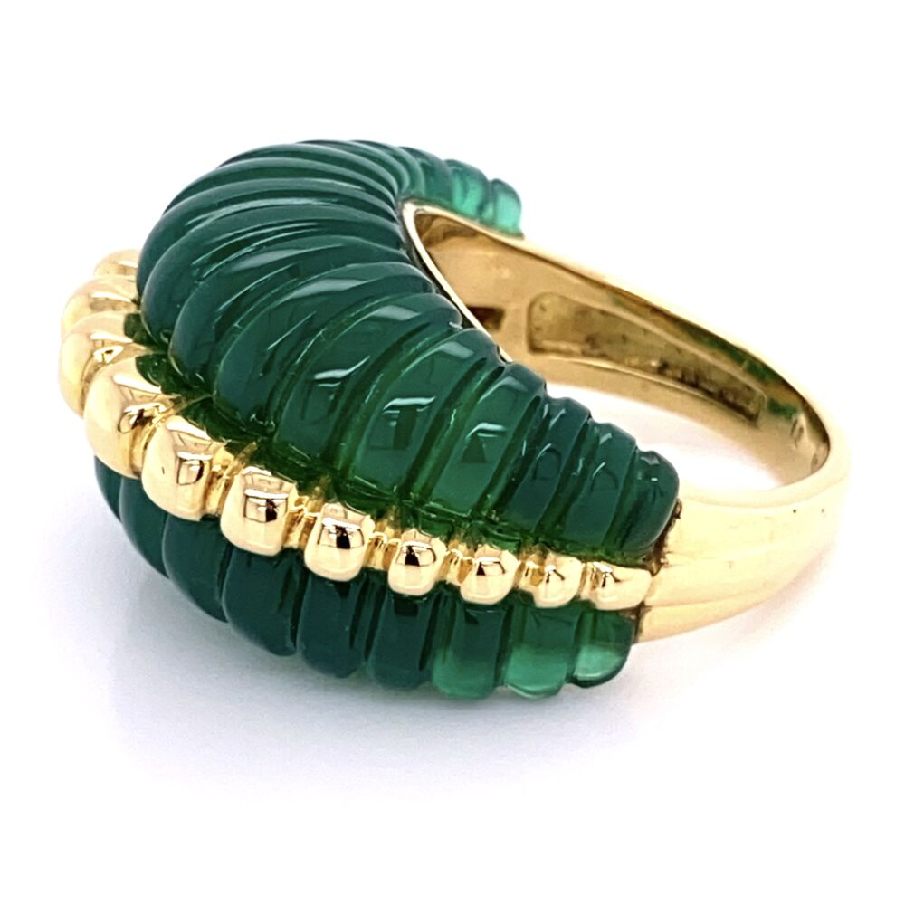Image 2 for 18K Yellow Gold Dome Ring with Carved & Fluted Green Quartz 14.1g, s6.75