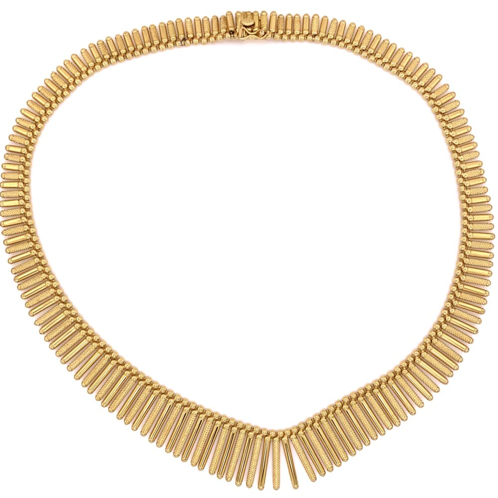 18K Yellow Gold CLEOPATRA style UNO A.R. Italian Fan Necklace 58.5g,  16""