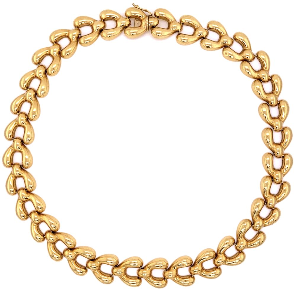 """18K Yellow Gold 1970's Open Link Necklace 46.4g, 16"""" Long"""