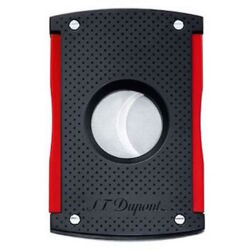 Closeup photo of S.T. Dupont MaxiJet Cigar Cutter Black Punched/Red