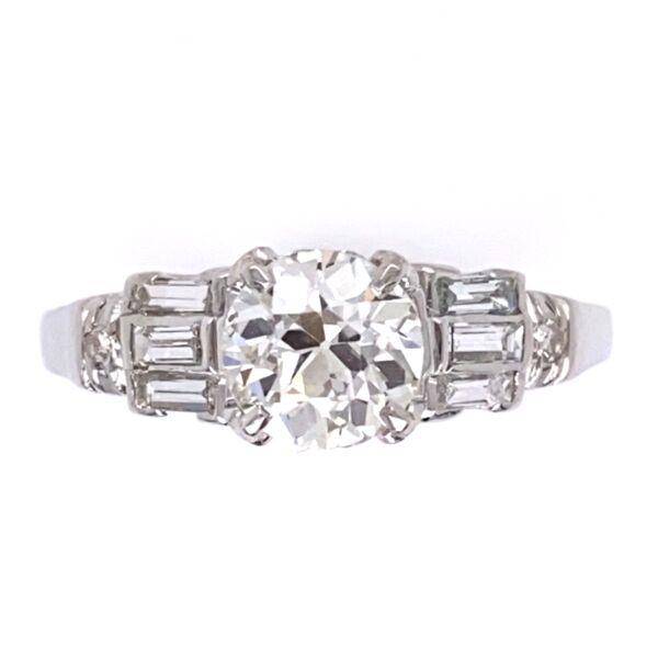 Closeup photo of Platinum Art Deco .76ct OEC Diamond Ring & .36tcw side Diamonds, s6.5