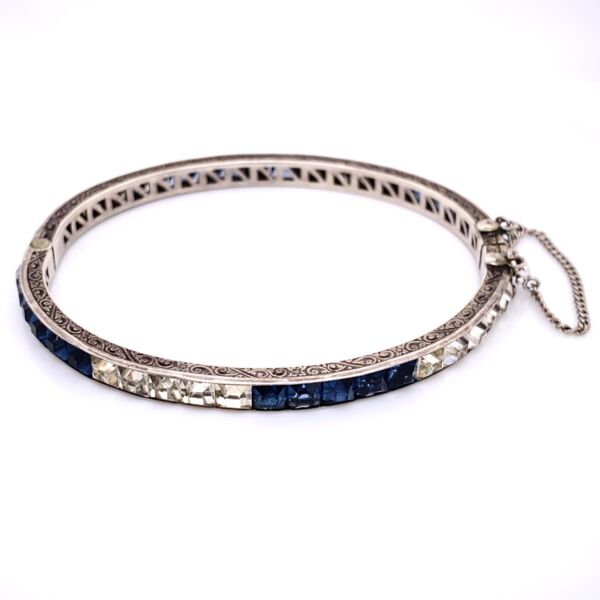 """Closeup photo of 925 Sterling Synthetic Sapphire & White Glass Engraved Cuff 12g, 7"""""""