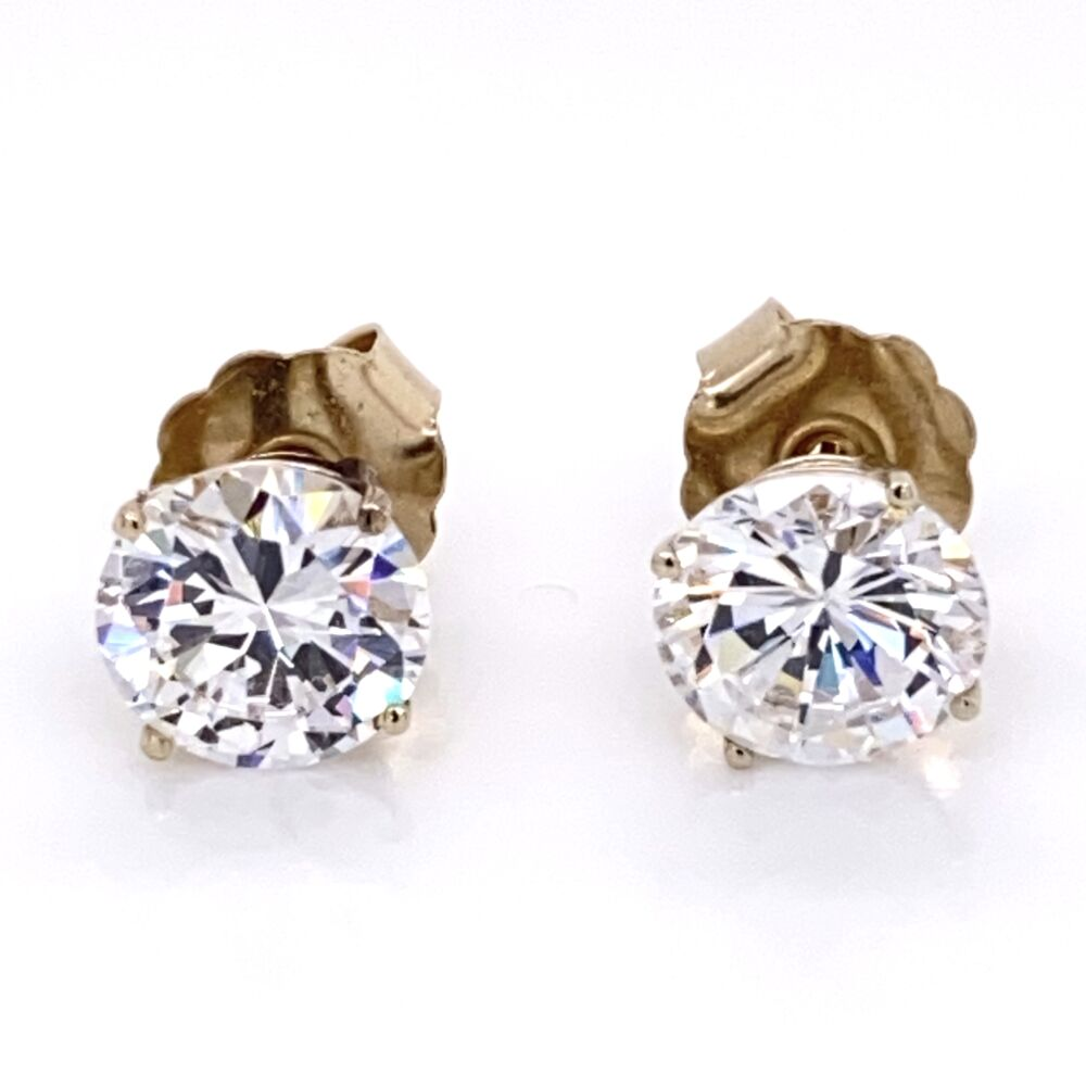 Image 2 for 10.00tcw CZ Cubic Zirconia Stud Earrings in 14K Yellow Gold