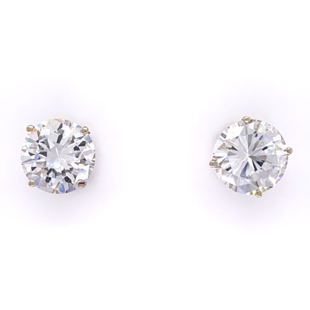 10.00tcw CZ Cubic Zirconia Stud Earrings in 14K Yellow Gold
