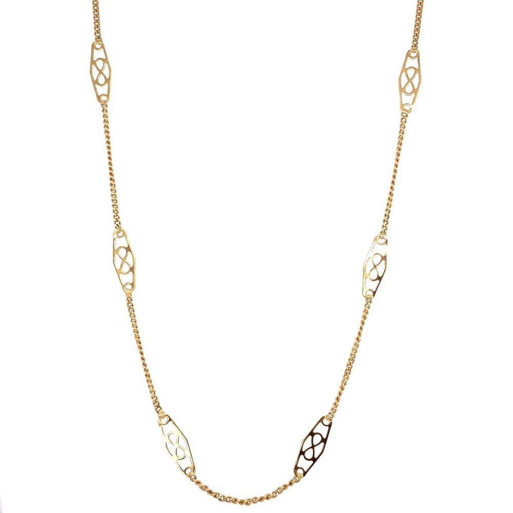 """14K Yellow Gold Italtian Station Chain Necklace 3.8g, 24"""""""