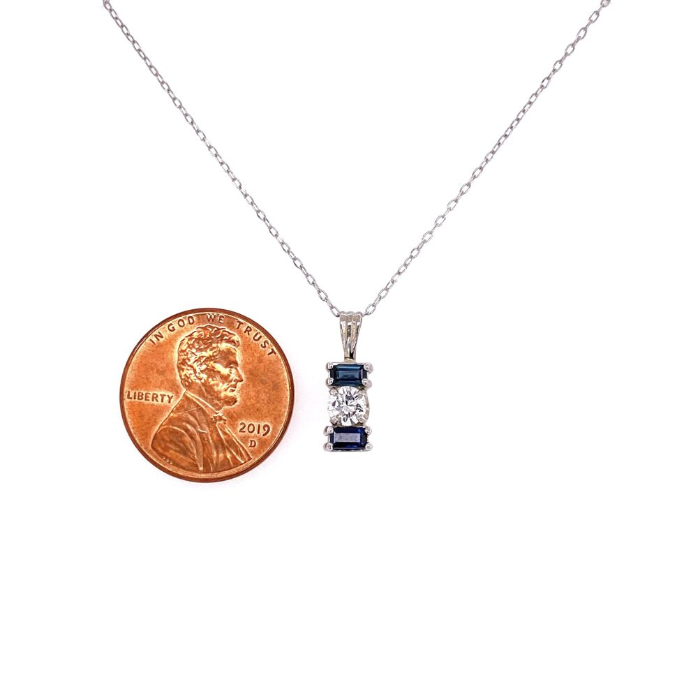"""Image 2 for 14K White Gold .25ct Diamond & .28tcw Sapphire Pendant on 18"""" Chain 1.7g"""