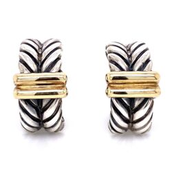 Closeup photo of 18K & 925 Sterling ALS Italian Rope Earrings with French Clips 17.7g