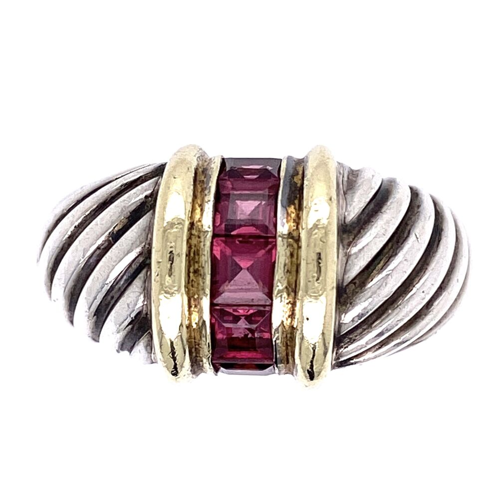 14K & 925 Sterling D. Yurman Purple Garnet Ring 7.1g, s8.25