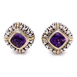 Closeup photo of 18K & 925 Sterling Cushion Amethyst Earrings with French Clips 12.2g