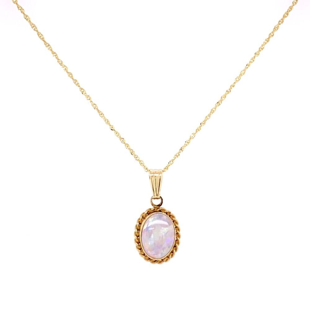 "14K Yellow Gold White Opal CARLA Pendant on 18"" chain"