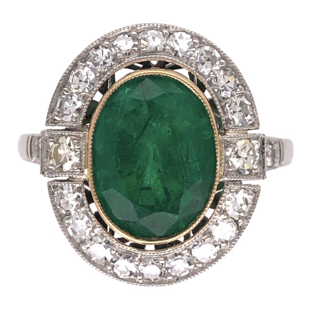 Platinum Art Deco 2.72ct Oval Emerald & .72tcw Diamond Ring 4.6g, s6.75