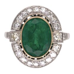 Closeup photo of Platinum Art Deco 2.72ct Oval Emerald & .72tcw Diamond Ring 4.6g, s6.75