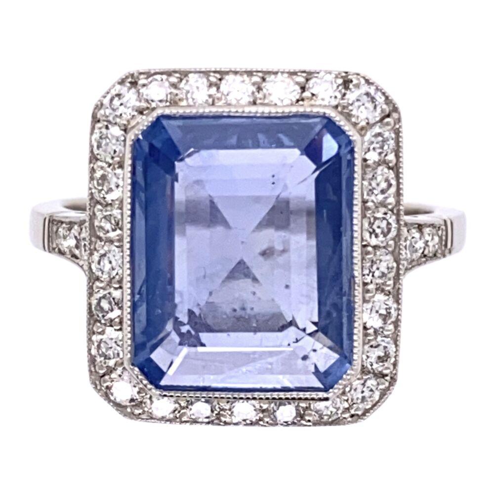 Platinum Art Deco 4.89ct Blue Sapphire & .65tcw Diamond Ring 6.1g, s7