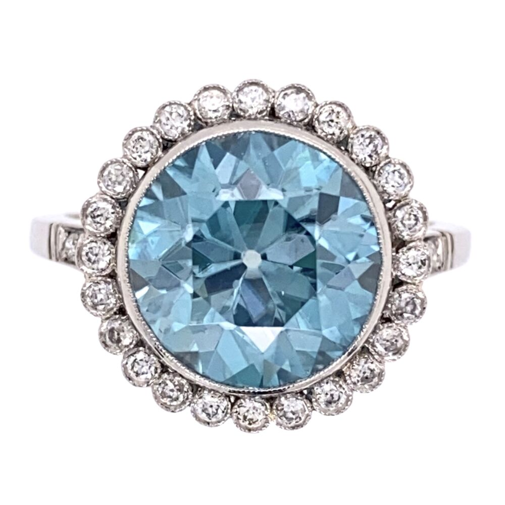 Platinum Art Deco 7.43ct Blue Zircon & .44tcw Diamond Ring 7.4g, s7.25
