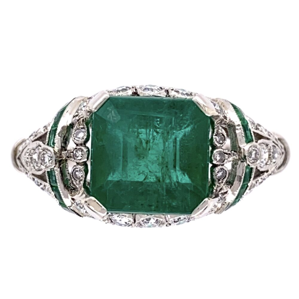 Platinum Art Deco 2.96ct Emerald Ring with .55tcw Diamonds & .10tcw Emeralds 5.2g, s6.75