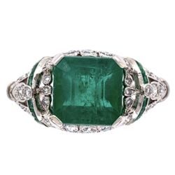 Closeup photo of Platinum Art Deco 2.96ct Emerald Ring with .55tcw Diamonds & .10tcw Emeralds 5.2g, s6.75