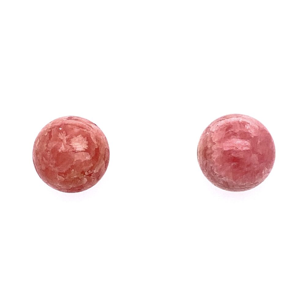 14K Yellow Gold Rhodocrosite 12mm Round Studs
