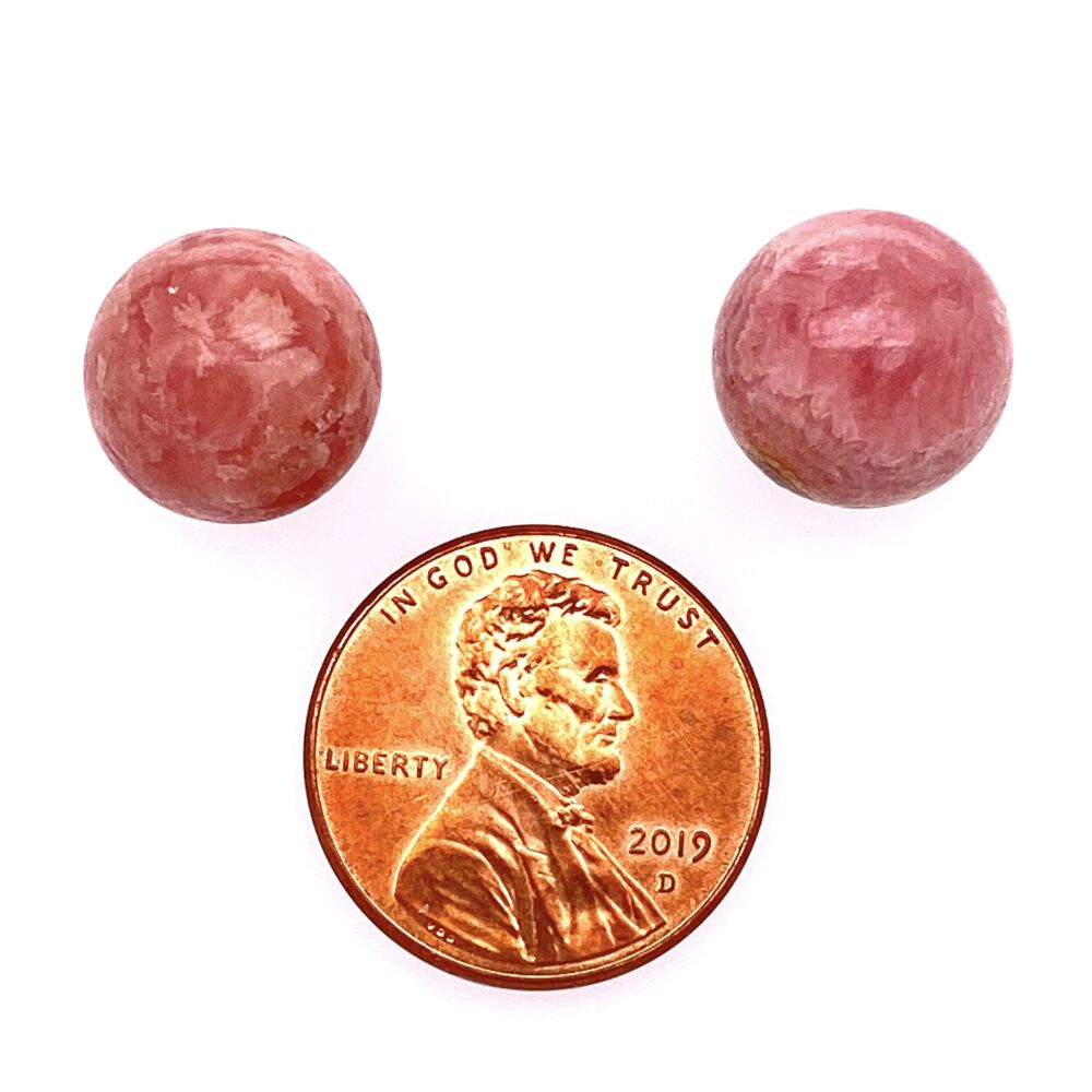 Image 2 for 14K Yellow Gold Rhodocrosite 12mm Round Studs