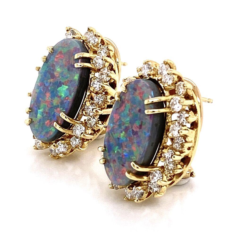 Image 2 for 14K Yellow Gold 6tcw Dark Gray Opal & 2.00tcw Diamond Earrings 11.7g