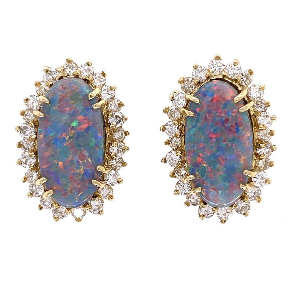14K Yellow Gold 6tcw Dark Gray Opal & 2.00tcw Diamond Earrings 11.7g