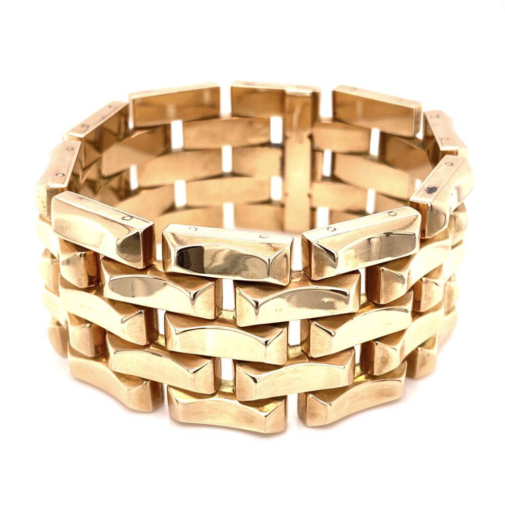 """14K Rose Gold Retro 5 Link 1.25"""" Wide Bracelet 105.0g, 7.5"""" Long"""
