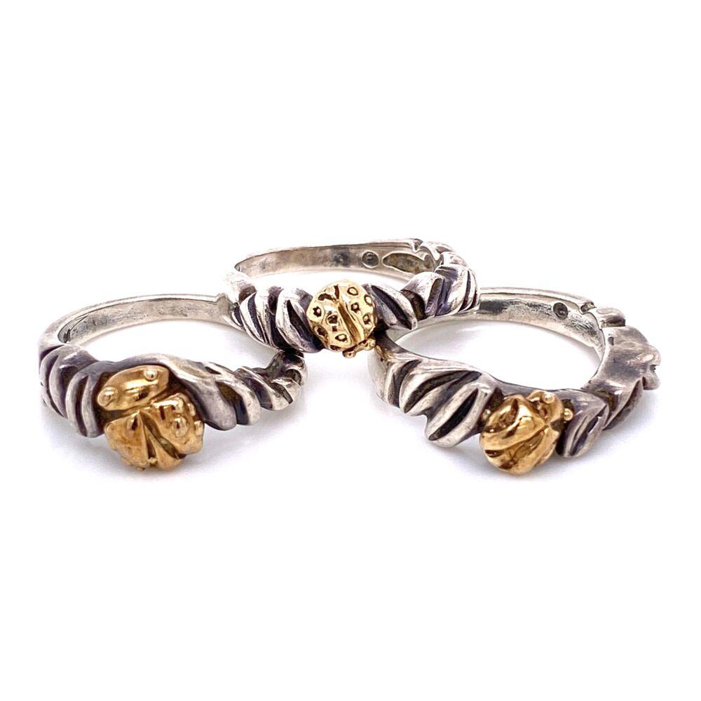 925 / 14K Yellow Gold Diane Malouf Triple LADY BUG Ring Set 11.9g, s6.5
