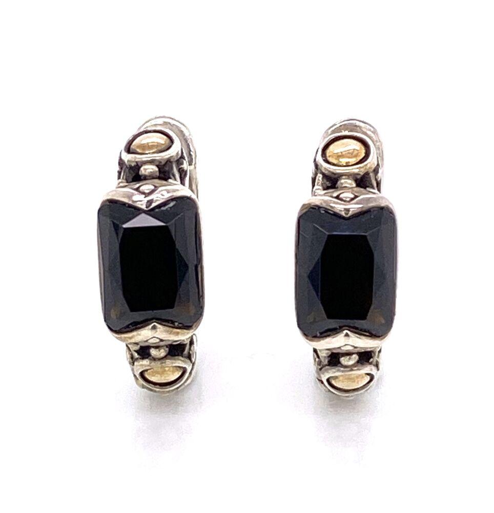 925 / 18K Yellow Gold JOHN HARDY Onyx Hoops Earrings 7.0g