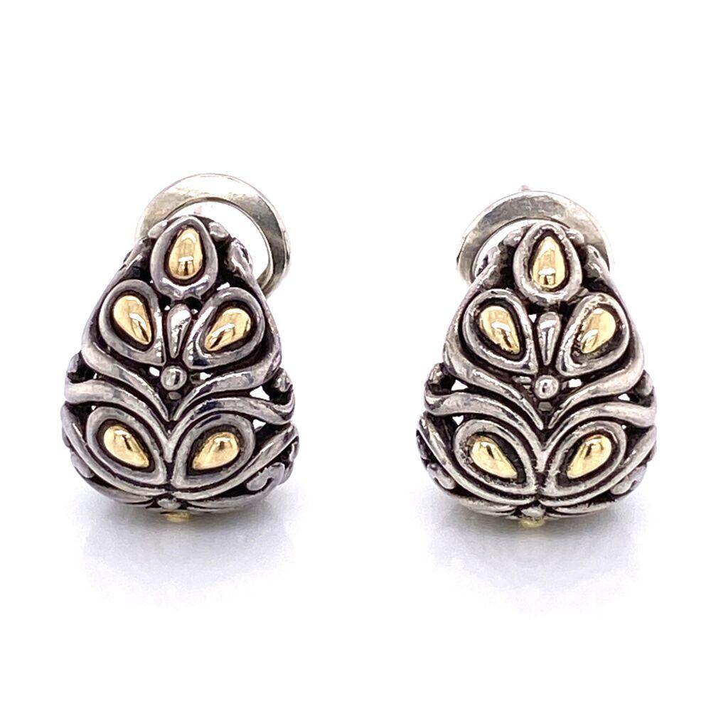 925 / 18K Yellow Gold JOHN HARDY Pear Shape Clip Earrings 10.3g