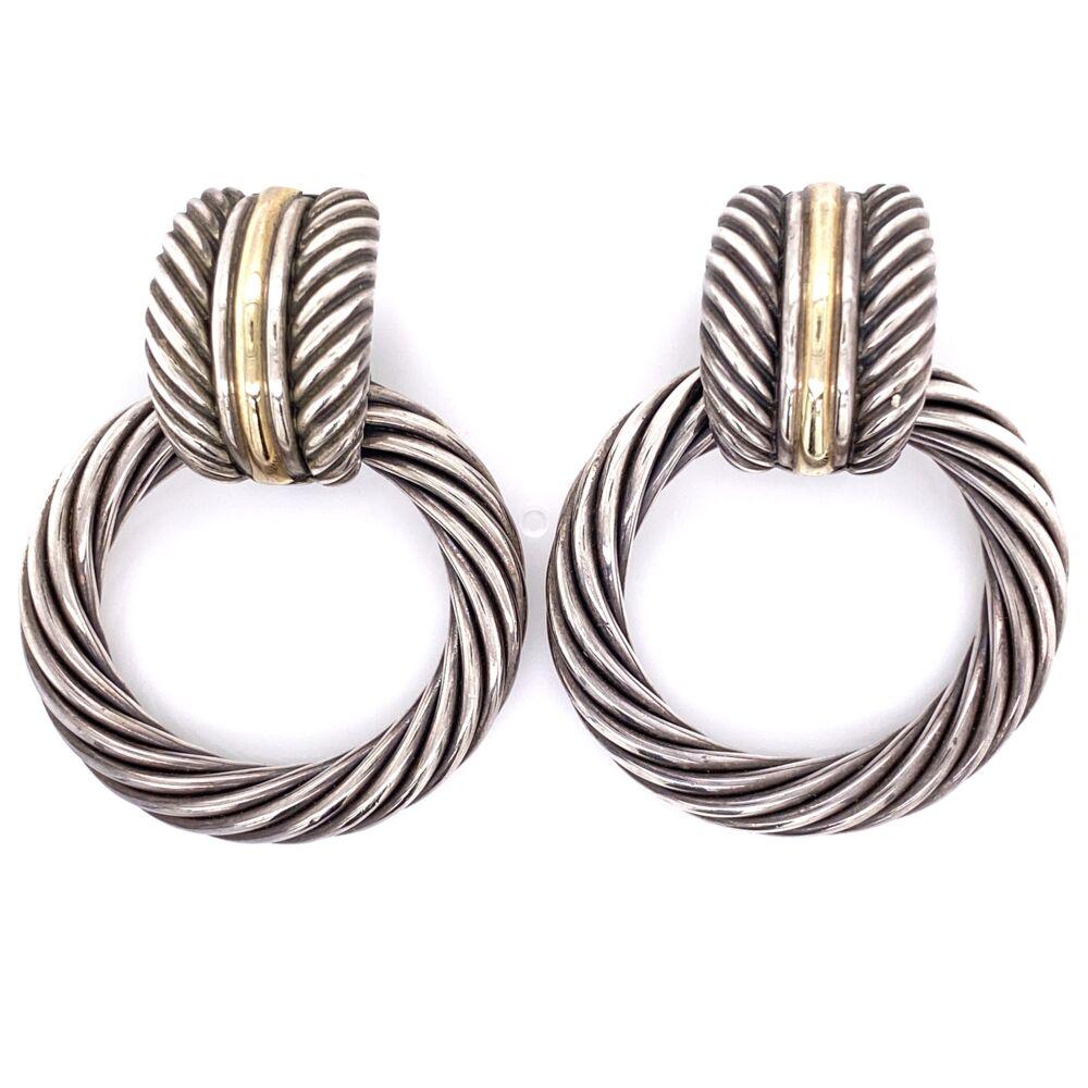 "925 / 14K Yellow Gold DAVID YURMAN Large Open Circle Earrings 35.3g 2"" Tall"