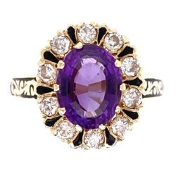 Closeup photo of 14K Yellow Gold 1.60ct Oval Amethyst, .50tcw Diamonds & Enamel Ring 5.9g,