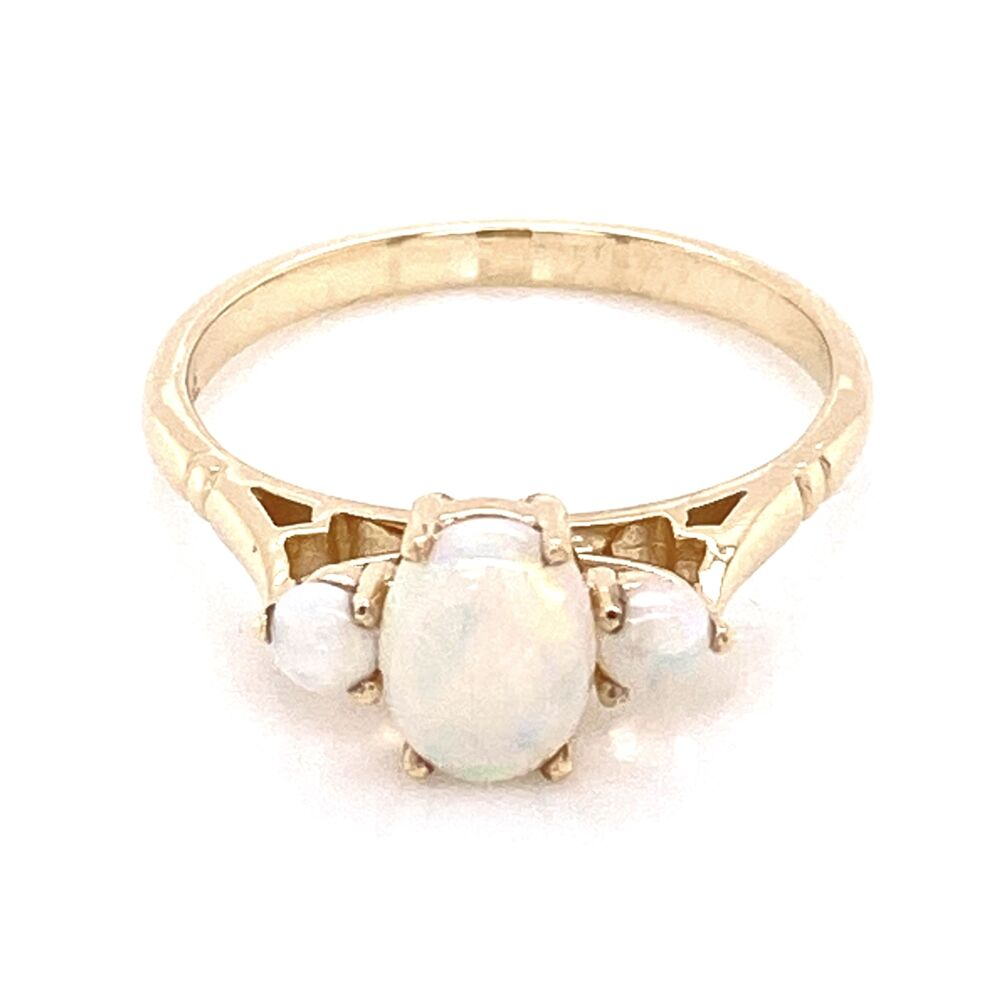 Image 2 for 9K Yellow Gold Victorian 3 Opal Ring 1.8g, s6