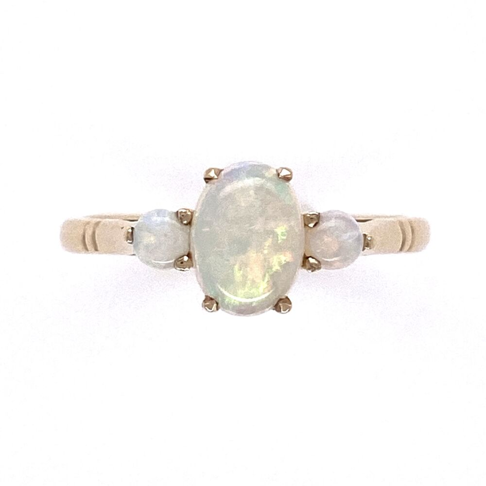 9K Yellow Gold Victorian 3 Opal Ring 1.8g, s6