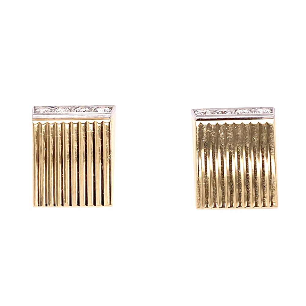 14K Yellow Gold / Platinum Retro Diamond Earrings .48tcw 11.3g