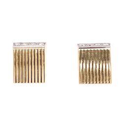 Closeup photo of 14K Yellow Gold / Platinum Retro Diamond Earrings .48tcw 11.3g