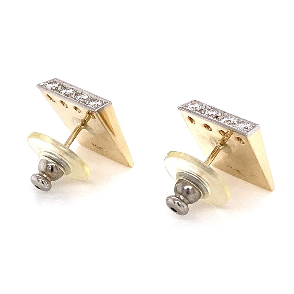 Image 2 for 14K Yellow Gold / Platinum Retro Diamond Earrings .48tcw 11.3g