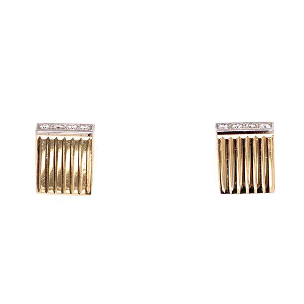 Closeup photo of 14K Yellow Gold / Platinum Retro Diamond Earrings .10tcw 3.4g