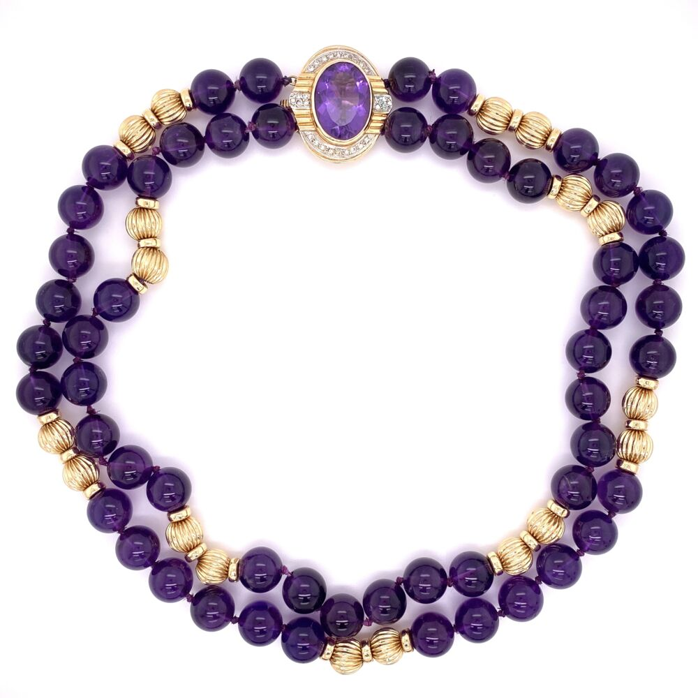 """14K Yellow Gold 10mm Amethyst Bead Necklace with .25tcw Diamond Clasp 88.0g, 15"""""""